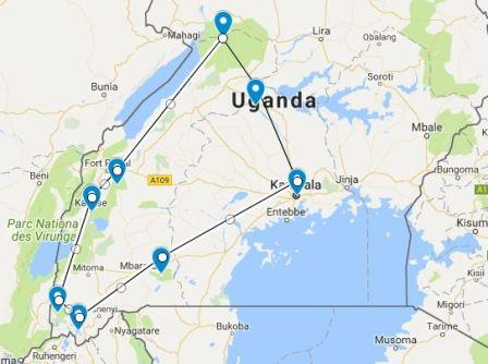 15 days uganda safari map, 15 days uganda tour, 15 days uganda safari, uganda wildlife safari, Uganda safari, Uganda tours, Uganda safari tours