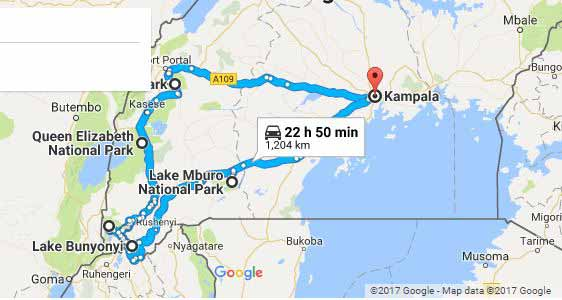 10 days uganda safari map, gorilla trekking, chimp tracking, lake bunyony map, lake mburo national park
